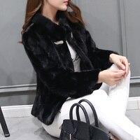 2016 Ladies' Genuine Natural Piece Mink Fur Coat Jacket Winter Women Fur Outerwear Coats