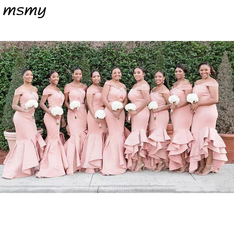 Long Blush Pink Mermaid Bridesmaid Dresses Off Shoulder Satin Cascading Ruffles Wedding Guest Dress Plus Size Maid Of Honor