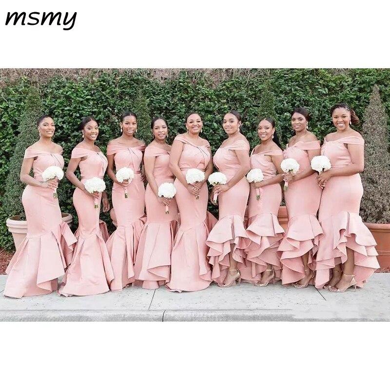 Longue Blush rose sirène robes de demoiselle d'honneur épaule dénudée Satin cascade volants robe de mariée invité grande taille demoiselle d'honneur