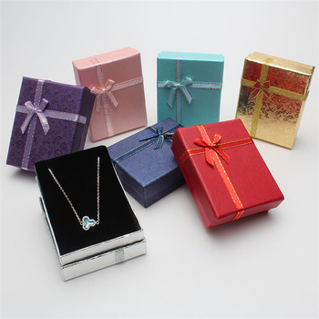 DoreenBeads 9*7*3cm Shiny Jewelry Box Necklaces Earrings Bracelets Boxes Gift Packing Wholesale Display Classic Bowknot 1 Piece