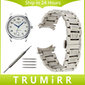 19mm 20mm Stainless Steel Watchband Curved End Strap for Longines Master L2 Watch Band Butterfly Buckle Belt Bracelet Silver