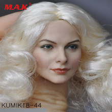 1/6 KUMIK KM18-44 Female Head Caving with White Curls Hair Fit 12 Action Figure Body Accessory