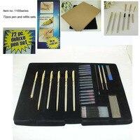 School Students Stationery Set Stainless Steel Pen with 66pcs refills & 6pcs Pen Total 72pcs Writing Instrument Pen & Pencil set