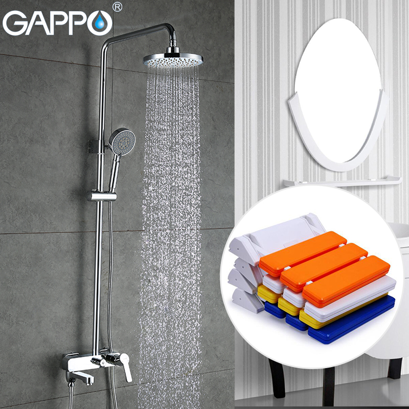 GAPPO Shower Faucets rainfall shower set tub faucet Bath bench Wall Mounted Shower Seats Sanitary Ware Suite