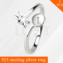 LGSY beautiful Butterfly design adjustable 925 sterling silver ring accessories with pearls bar, women rings jewelry for wedding