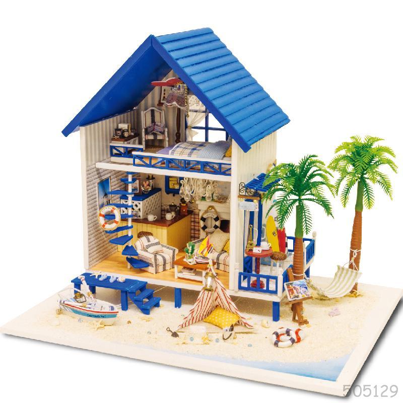 Large diy doll house villa 3d miniature wooden building model dollhouse furniture model toys of - Pictures of house wooden furnitures ...
