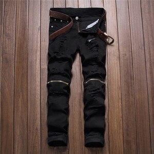 Image 1 - Nam Man Đen Đỏ Trắng Quần Jeans 2018 Thu Đông Nam Quần Denim Cổ Điển Cao Bồi Trẻ Trung Lỗ Dây Kéo Quần Jeans Slim quần Dài