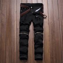 Pantalon dautomne pour homme, modèle classique pour cowboy, jeune trou, avec fermeture éclair, noir, rouge, blanc, collection 2018