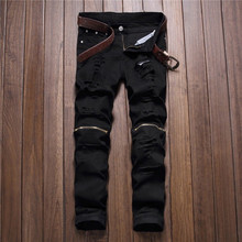men trousers Man black red white jeans 2018 autumn men Casual Denim Pants Classic Cowboys Young hole zipper jeans Slim trousers