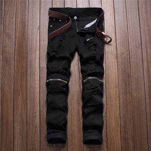 Image 1 - men trousers Man black red white jeans 2018 autumn men Casual Denim Pants Classic Cowboys Young hole zipper jeans Slim trousers