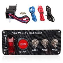Triclicks Racing Car Switches 12V LED Ignition Switch Panel Engine Start Push Button Toggle Carbon Fiber Led