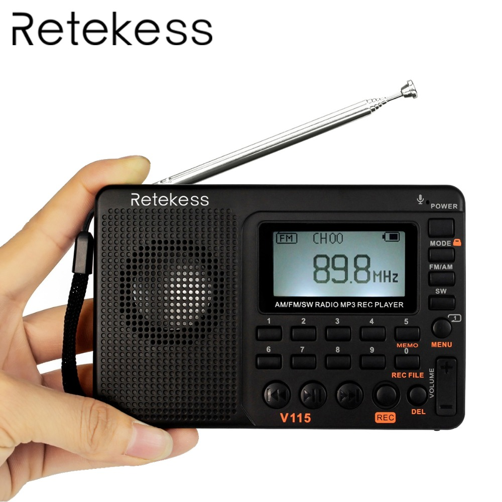 Retekess V115 Portable Radio FM / AM / SW World Band Receiver MP3 Player REC Recorder Dengan Sleep Timer Black FM Radio Recorder