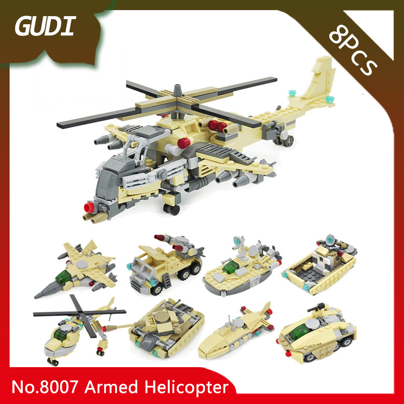 GUDI 8007 8pcs 8IN1 Military Series The Armed Helicopter Vehicle Fighter Model Building Blocks Kids DIY Favourite Toys For Gifts