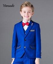 New Royal Blue Boys Wedding Suits Best Man Groomsman Formal Tuxedo Flower