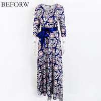 BEFORW Autumn New Vintage Printing Women Dress Blue Bohemian Style Fashion Dress Belt Three Quarter Sleeve