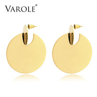 VAROLE 2017 Big Circle Dangle Earrings Matte Gold Color Earings Drop Earrings For Women Fashion Jewelry