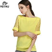 women's shirt Chiffon blouse Women's clothing fashion novelties Casual Hole Solid Slash neck S-5XL summer Plus size C709