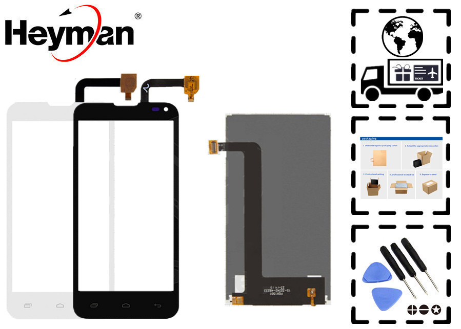 Heyman LCD display screen for Fly IQ4415 Quad Era Style 3 LCD Front Glass Lens Sensor Digitizer touchscreen Replacement