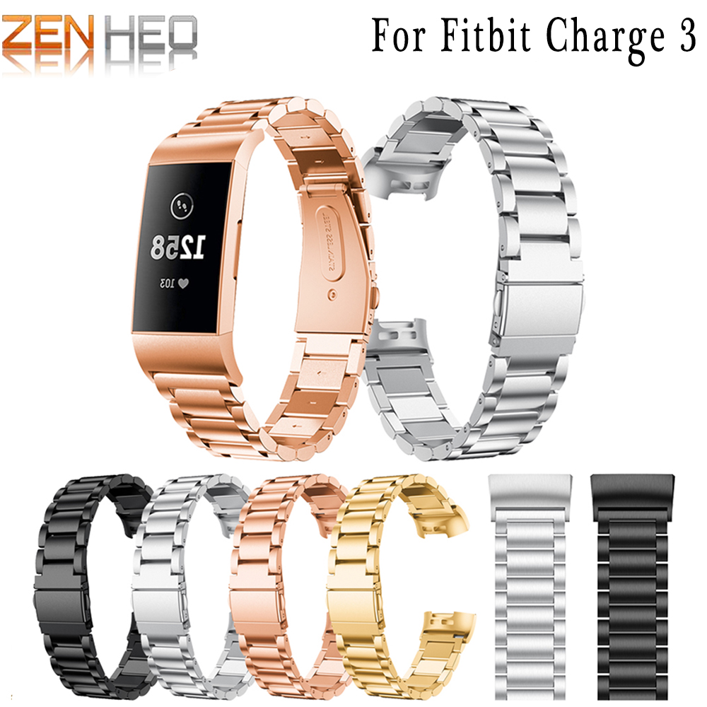 Watch-Band Bracelet Wrist-Watches Fitbit-Charge Stainless-Steel Metal for 3