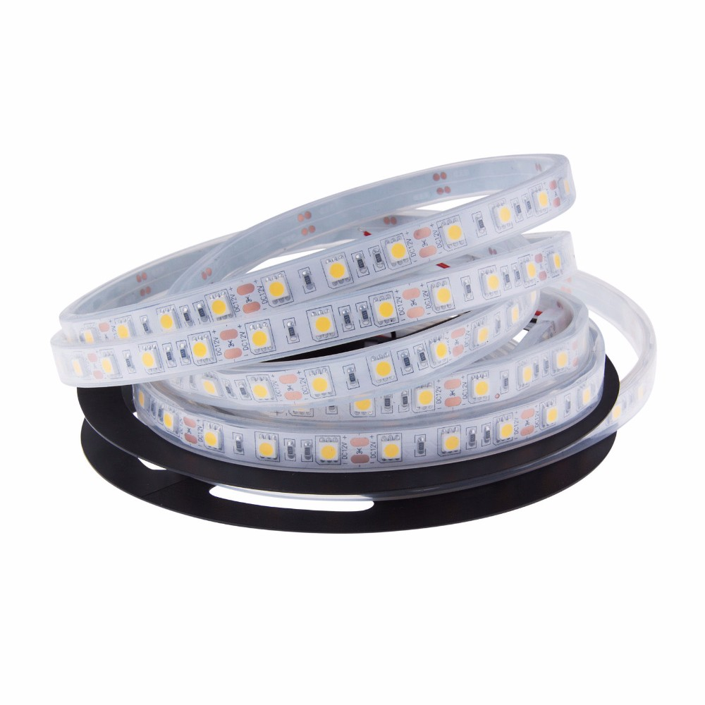 1m/2m/3m/4m/5m IP67 / IP68 Waterproof LED Strip 5050 DC12V 60 LED/M High Quality Silicon Tube Outdoors / Under Water LED Strip
