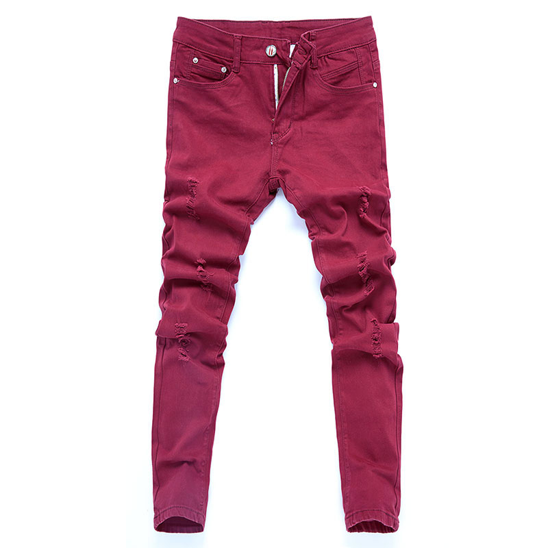 New Arrival Stretch Skinny Jeans Men Casual Ripped Denim Pants Male Slim Fit Cotton High Quality Hole Jean Trousers Red White
