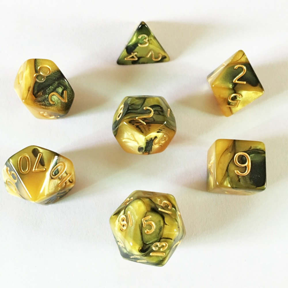 New Acrylic Digital DND Dice Dungeons & Dragons RPG Game Dice D&D Gold Black Color Mixing 7pcs/Set image