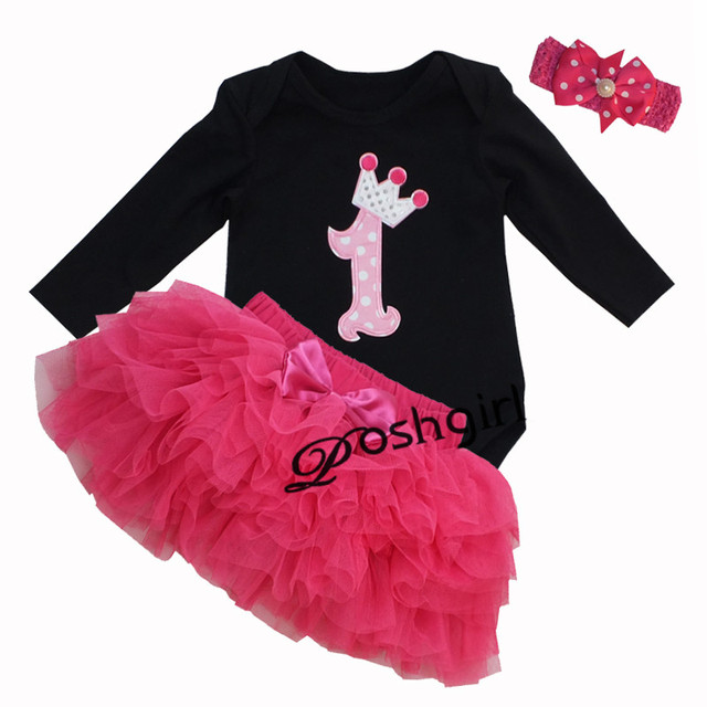 c997388e10573d Newborn Baby Clothes Set Black Long Sleeves Baby Girl 1st Birthday Tutu  Dress Heaband Bubble Skirt