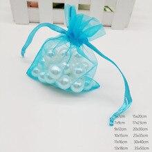 Lake Blue organza bolsa con cierre de cordón bolsa de joyas caja de regalo para pendiente/Collar/anillo/exhibición de la joyería bolsas de embalaje organizador