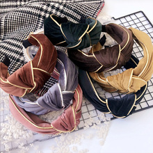 Korea Velvet Flowers Hand Made Retro Hair Accessories Bows Crystal Crown Band Headbands For Girls