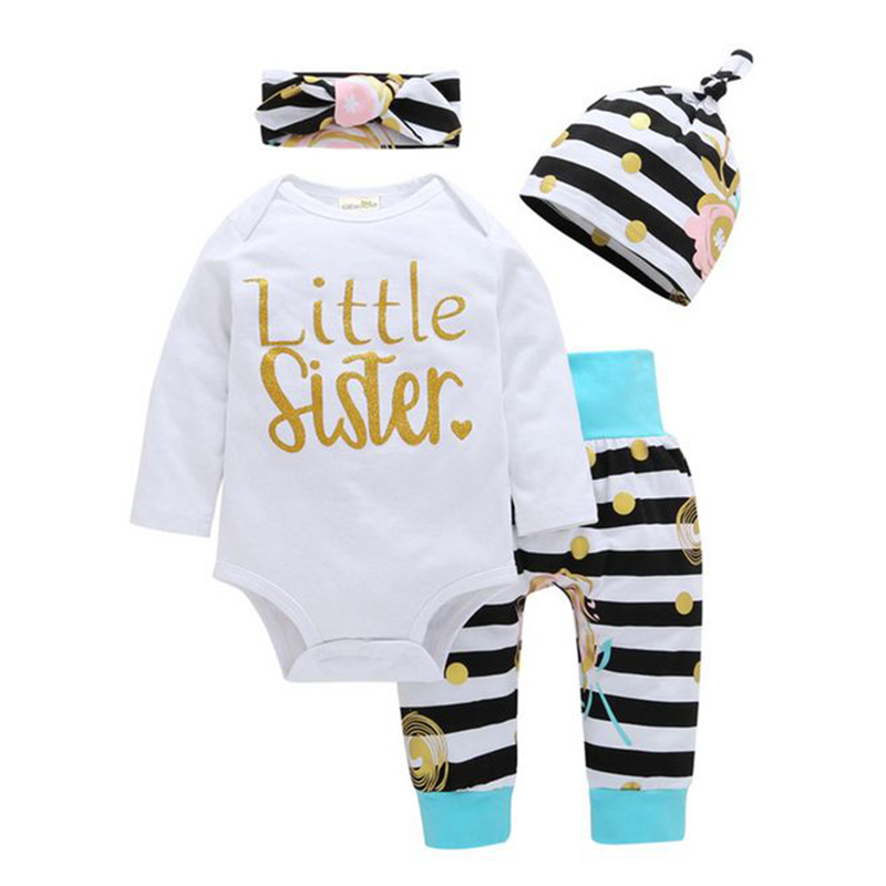 Autumn Baby Clothing 4pcs Long Sleeve Rompers+Striped Pants+Headband+Casual Hat Cotton Newborn Set Girl Body BeBe Infant Clothes