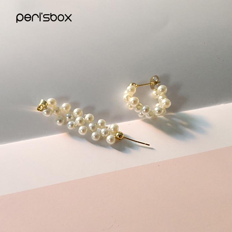 Peri'sBox Handmade Braided Pearl Hoop Earrings for Women Dainty Pearls Beaded Earrings Hoops 19mm Delicate Cute Jewelry Gifts