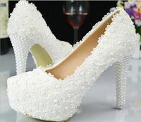 Giày cưới Thời Trang của Phụ Nữ Cộng Với Kích Thước Cao Gót Nền Tảng Máy Bơm 2016 Mùa Thu Cô Dâu Beading Ren Giày Trắng zapatos mujer z369