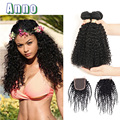 7A malaysian virgin hair kinky curly Hair closure bundles 4 bundles kinky curly virgin hair weave