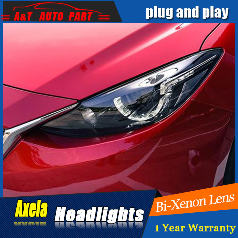 Auto Style D'éclairage LED Tête Lampe pour Mazda 3 Hache phares pour Axela LED angle yeux drl H7 hid Bi-xénon Lentille à faible faisceau