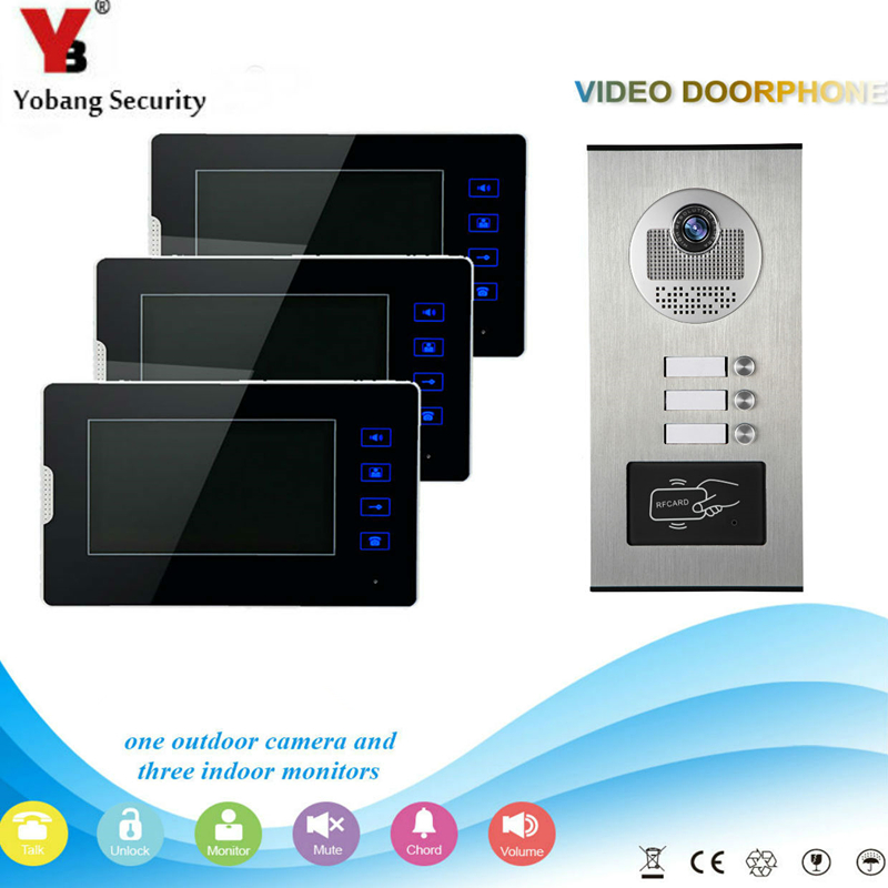 Yobang Security 7 Video Door Phone Home Doorbell Intercom System RFID Access Door Camera For 3 Unit Apartment Video Intercom yobang security 9 inch lcd home security video record door phone intercom system doorbell video monitor for apartment villa