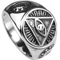 Size 7-15 All Seeing Eye of God Ring Retro Vintage Religious Christian Signet Cocktail Biker Signet