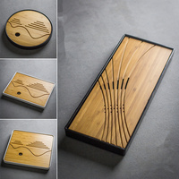 Brief Bamboo Tea Tray Plastic Tea Accessories Pallet Japanese Style Bamboo Circle Dry Water Tea Sets