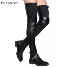 Fashion Thigh High Women Boots Buckle Knee Square Low Heel Long Over The Knee Boots Genuine Leather Knee High Black Boots Shoes