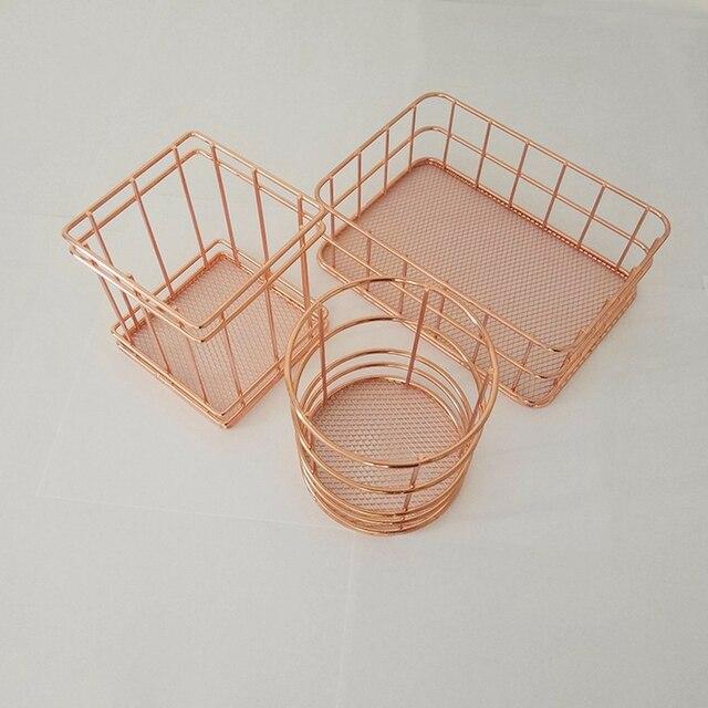 Elegant Rose Gold Tie Collection Basket Debris Girl Desktop Table Storage Basket