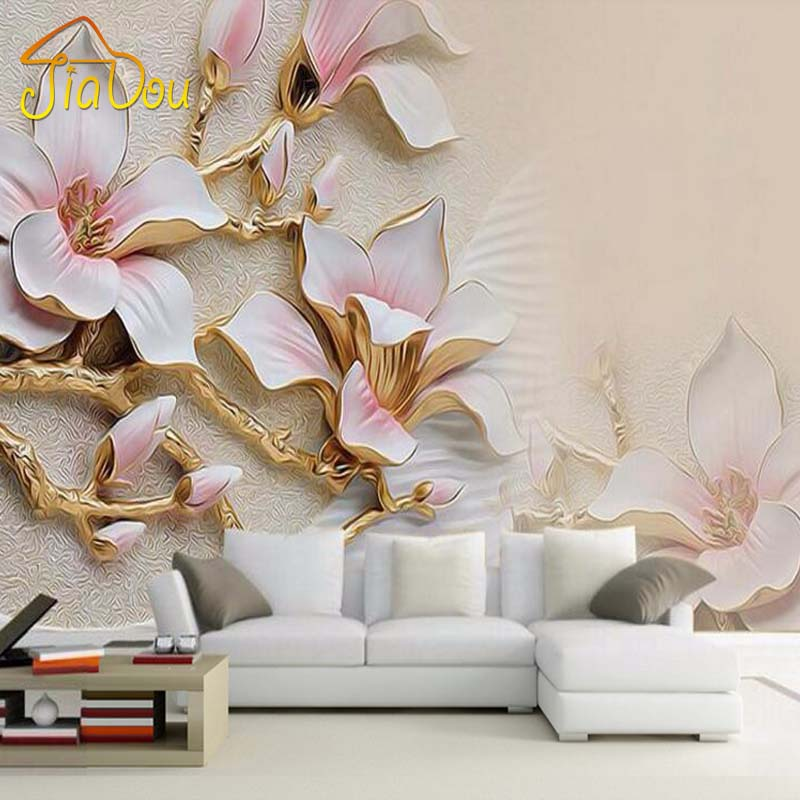 Custom 3d mural wallpaper stereo relief magnolia flower for Art mural wallpaper