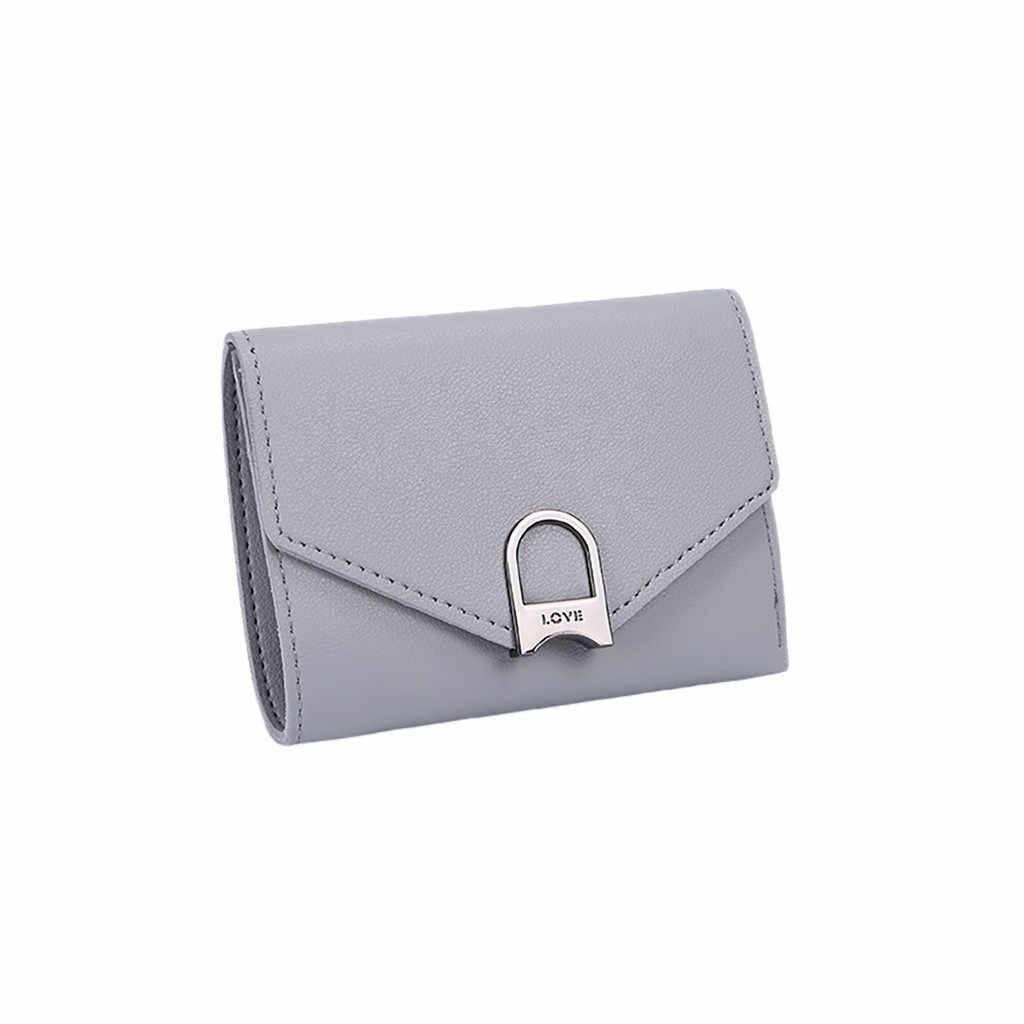 Для женщинЖенские кошельки2019 Мини женские кошельки короткие женские портмоне держатель кредитной карты английский стиль кожа минималистский # JX