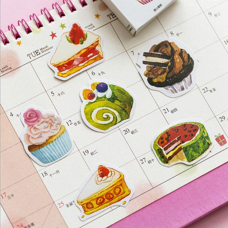 Купить с кэшбэком 50pcs/box Sweet cake creative sticker diy hand gift bag sealing kawaii decoration adhesive tape Diary stationery stickers