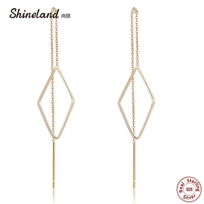 Shineland 925 Sterling Silver Long Chain Geometric Drop Earrings For Women Simple Rhombus Hollow Prevent Allergy Trendy Brincos все цены