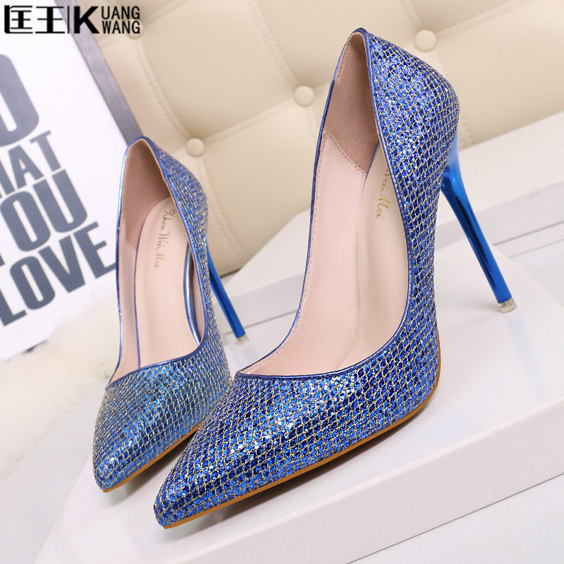 sexy high heels shoes woman ladies wedding shoes bride silver pumps extreme women shoes high heel