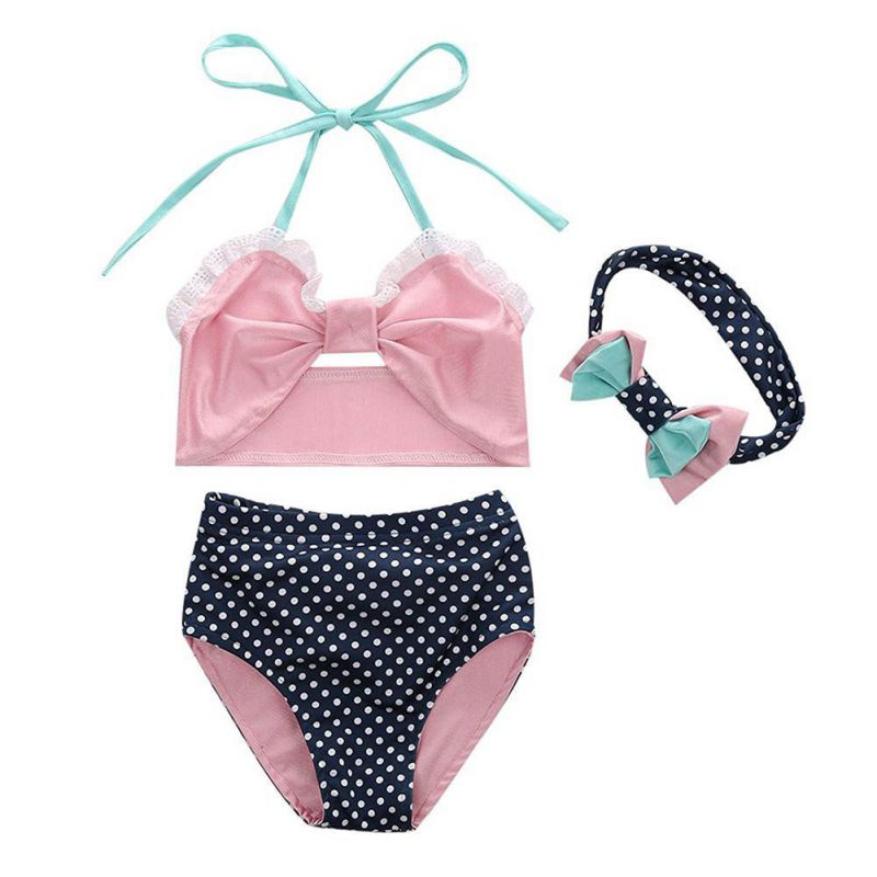Summer Baby Girl Swimsuit Set Lace Tops+Printed Panties+Headband Swimwear Beach Bathing Clothes Set 3 Pcs New