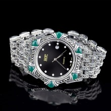 Hot Sale Women Classic Thai Silver Bracelet Watch S925 Silver Bracelet Watch Silver Jade Bracelet Watches