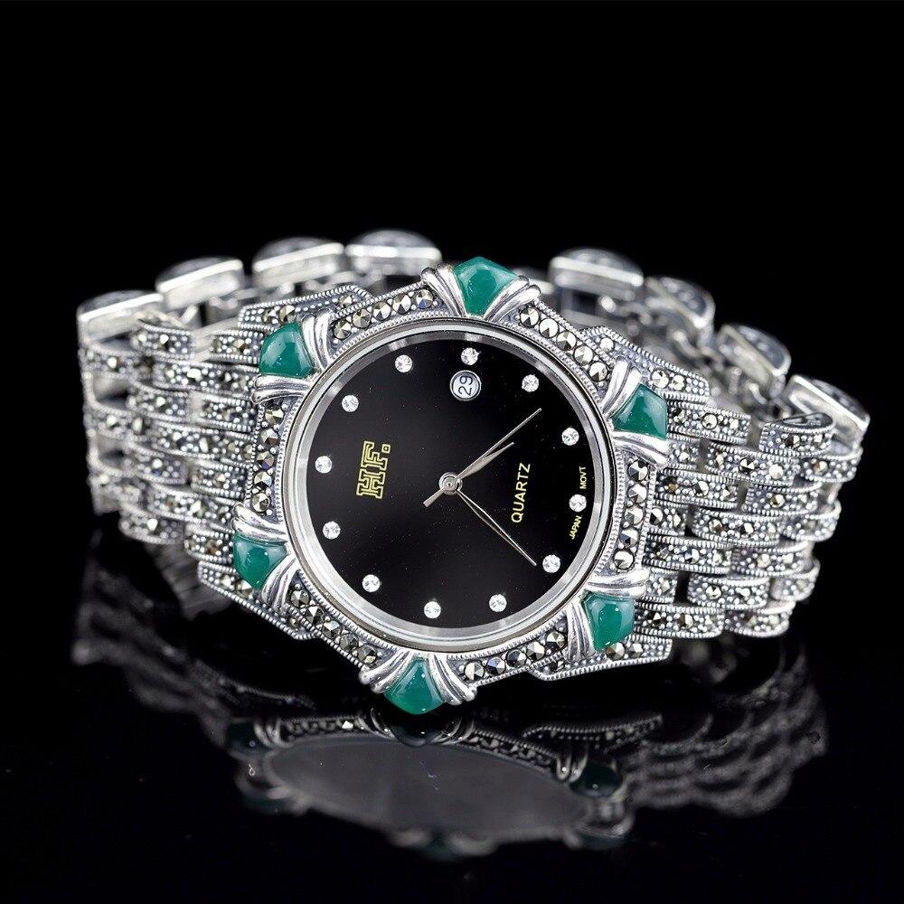 Offre spéciale femmes classique Thai Bracelet en argent montre S925 Bracelet en argent montre Bracelet en Jade argent montres Bracelet en argent réel