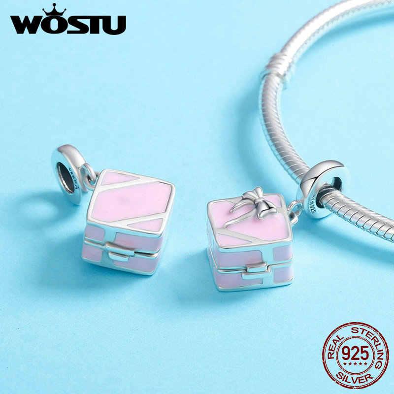 WOSTU oryginalny 925 srebro romantyczne różowe pudełko Marry Me niespodzianka propozycja urok wisiorek fit bransoletka DIY biżuteria CQC549