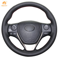 Steering Wheel Cover For 2013 Toyota RAV4 2014 Toyota Corolla Car Special Hand Stitched Black Leather