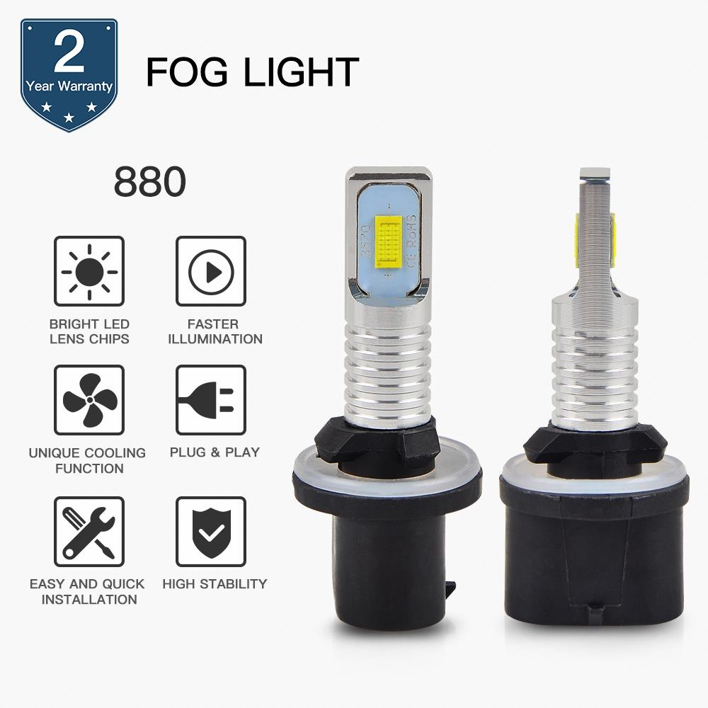 Bevinsee 880 Car LED Foglight Bulbs DRL CSP Chips For Cadillac Seville 2003 Super White Lamps 6500K in Signal Lamp from Automobiles Motorcycles